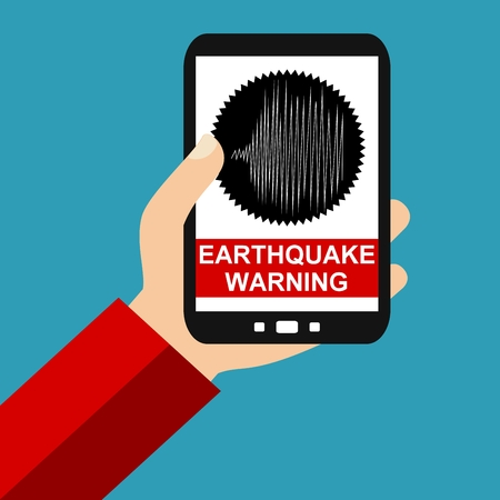 seismograph: Hand holding Smartphone: Earthquake Warning - Flat Design