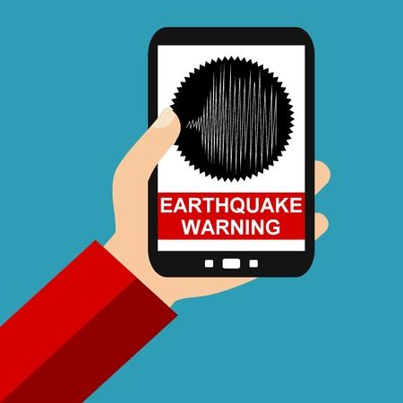 sismográfo: Mano que sostiene teléfono inteligente: Terremoto Advertencia - Diseño plana