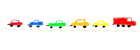 child's: Simple isolated childrens painting of colorful cars on a street