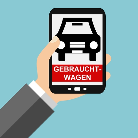 finde: Hand holding Smartphone: Used cars in german language - Flat Design Stock Photo