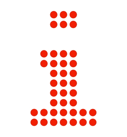 Isolated dotted Info symbol made of red dots