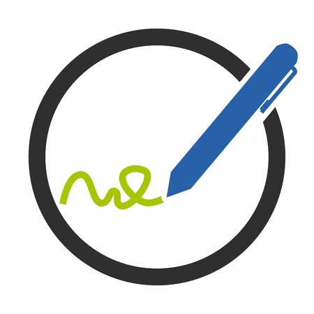 pictograph: Isolated circle with icon symbol of Writing Pen