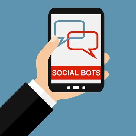 talking robot: Hand holding Smartphone: Social Bots - Flat Design Stock Photo