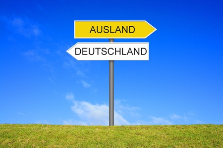Signpost outside is showing Germany or Foreign Country in german language