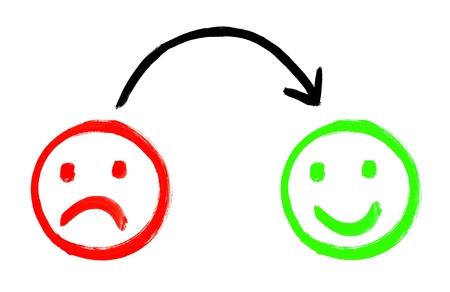 Caras de comentarios pintados que muestran emociones negativas y positivas Foto de archivo - 72512002