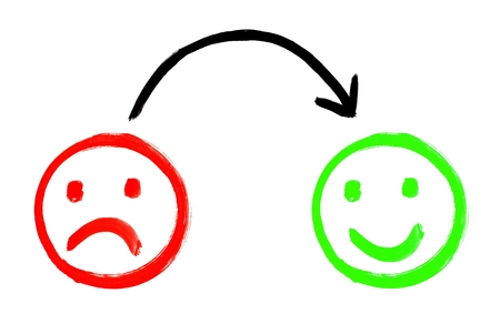 Painted Feedback faces showing negative and positive emotion