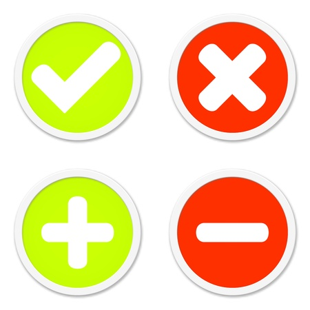 Four isolated round Buttons red and green showing plus minus x and tick