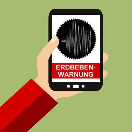 seismograph: Hand holding Smartphone: Earthquake Warning in german language - Flat Design