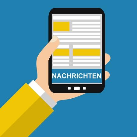 Hand holding Smartphone: News in german language - Flat Design Фото со стока