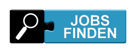 Isolated Puzzle Button with Symbol showing Finf jobs in german language