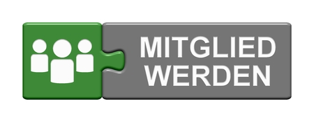 Isolated Puzzle Button with Symbol showing Become a member in german language