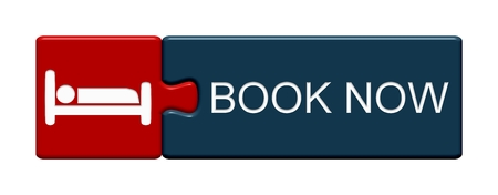 Isolated Puzzle Button with Symbol showing Book now