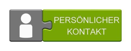 Geïsoleerde Puzzelknop met Symbool dat Persoonlijke Contact in de Duitse taal toont Stockfoto