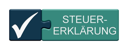 Isolated Puzzle Button with Symbol showing Tax Declaration in german language