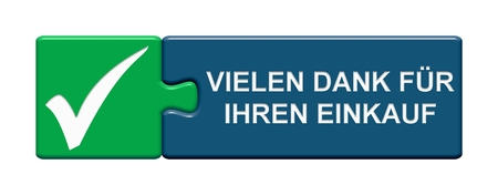 Isolated Puzzle Button with Symbols showing Thank you for your purchase in german language Stock Photo