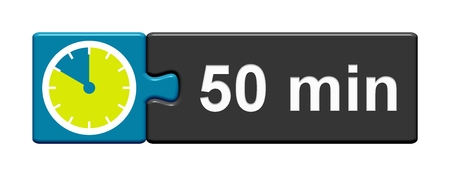 50 분을 보여주는 스톱워치 아이콘으로 퍼즐 버튼 파란색 회색