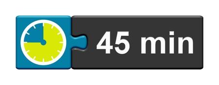 45 분을 보여주는 스톱워치 아이콘으로 퍼즐 버튼 파란색 회색 스톡 콘텐츠