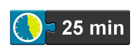 25 분을 보여주는 스톱워치 아이콘으로 퍼즐 버튼 파란색 회색