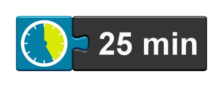 Puzzle Button blue grey with Stopwatch Icon showing 25 Minutes