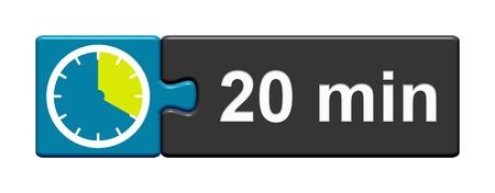 퍼즐 버튼 20 분을 보여주는 스톱워치 아이콘으로 푸른 회색 스톡 콘텐츠