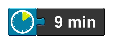 Puzzle Button blue grey with Stopwatch Icon showing 9 Minutes
