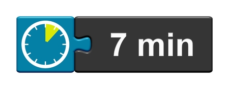 Puzzle Button blue grey with Stopwatch Icon showing 7 Minutes Stock Photo