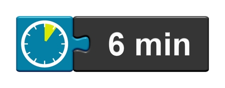 Puzzle Button blue grey with Stopwatch Icon showing 6 Minutes Stock Photo