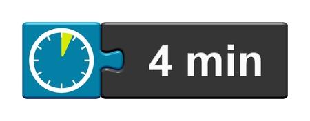 퍼즐 버튼 4 분을 보여주는 스톱워치 아이콘이있는 파란색 회색 파란색 스톡 콘텐츠