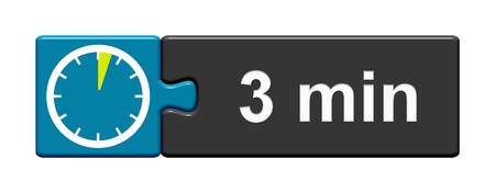 Puzzle Button blue grey with Stopwatch Icon showing 3 Minutes