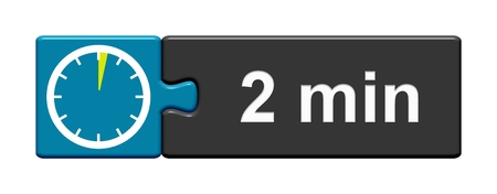 Puzzle Button blue grey with Stopwatch Icon showing 2 Minutes
