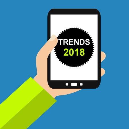 Hand holding Smartphone: Trends 2018 - Flat Design Stok Fotoğraf