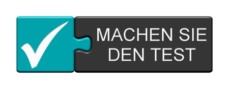 Isolated Puzzle Button with Tick showing Test now in german language