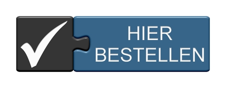 Isolated Puzzle Button with Tick showing Order Here in german language