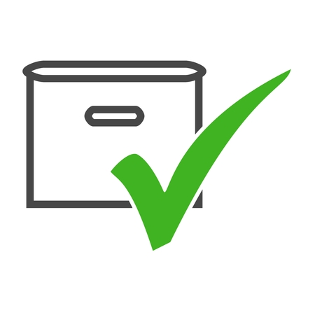 Isolated Icon of Removal Crate with green tick Stock Photo
