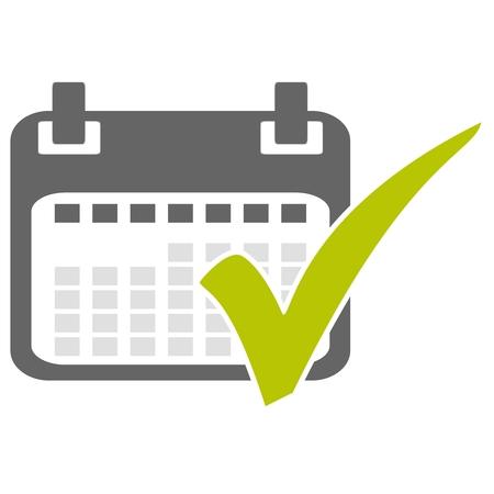 Icono de calendario aislado con tick verde