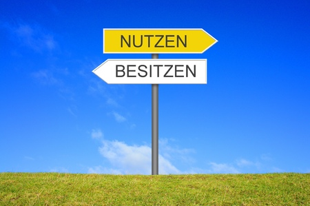 sign post: Signpost outside is showing Use or Own in german language Stock Photo