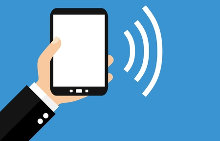 Hand holding Smartphone: Sending Data - Flat Design
