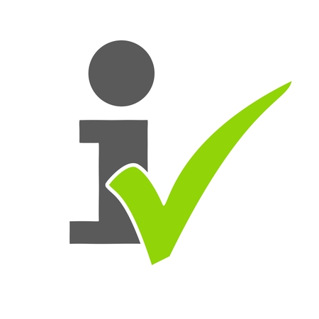 inform information: Isolated Info Icon of with green tick