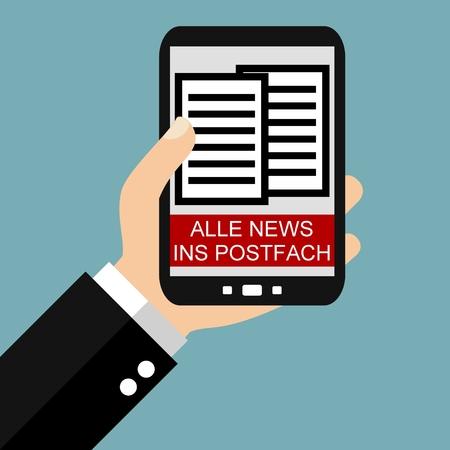 smartphone apps: Hand holding Smartphone: Newsletter - Flat Design