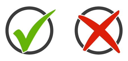 Isolated Icons red and green tick and x