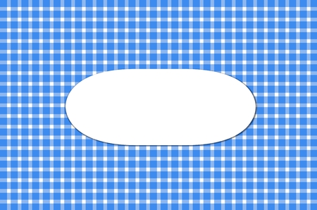 Tablecloth background - Checkered blue and white with oval Label
