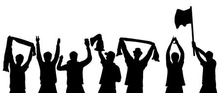 Black isolated cheering sport fans 免版税图像