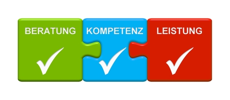 Three Puzzle Buttons with tick symbol showing Consulting Expertise Performance in german language Stock Photo