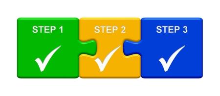 ステップ 1 ステップ 2 ステップ 3 を示す目盛りシンボルと 3 つのパズルのボタン