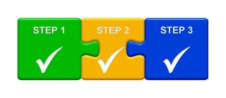 Three Puzzle Buttons with tick symbol showing Step 1 Step 2 Step 3