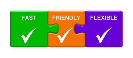Three Puzzle Buttons with tick symbol showing Fast Friendly Flexible