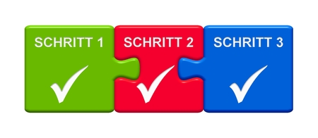 checklist: Three Puzzle Buttons with tick symbol showing Step 1 Step 2 Step 3 in german language
