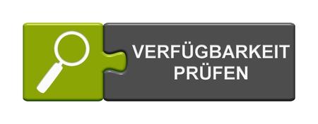 Geïsoleerde puzzel knop met vergrootglas Symbool weergegeven: Check beschikbaarheid in de Duitse taal Stockfoto