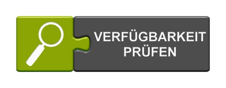 Isolated Puzzle Button with Magnifier Symbol showing Check Availabilty in german language