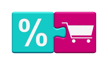onlineshop: Blue Pink Button showing Discount Shop